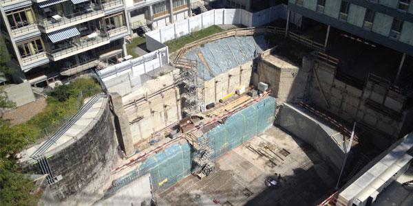 2015 USZ, Modulbau und Energiezentrale im Park, Baugrube